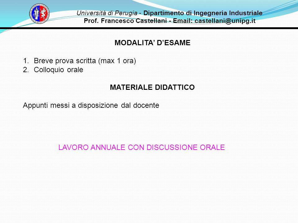 MODALITA' D'ESAME MATERIALE DIDATTICO