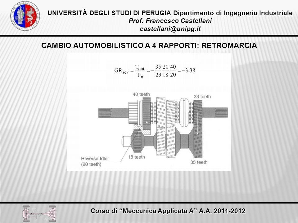 CAMBIO AUTOMOBILISTICO A 4 RAPPORTI: RETROMARCIA