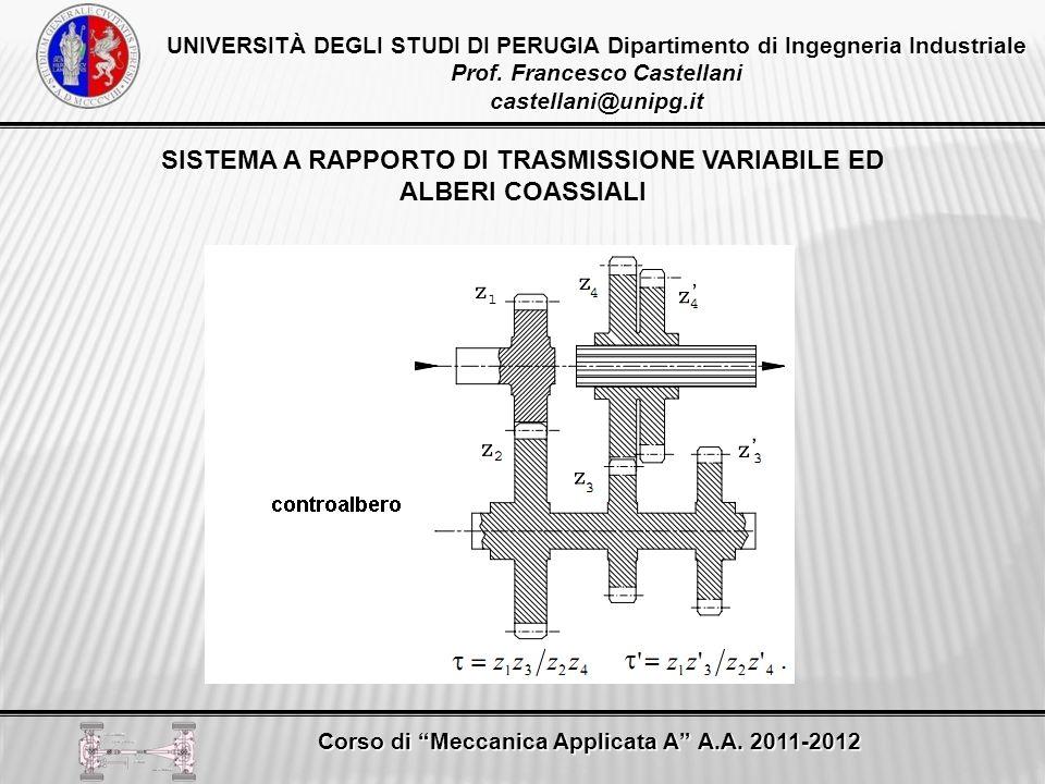 SISTEMA A RAPPORTO DI TRASMISSIONE VARIABILE ED ALBERI COASSIALI