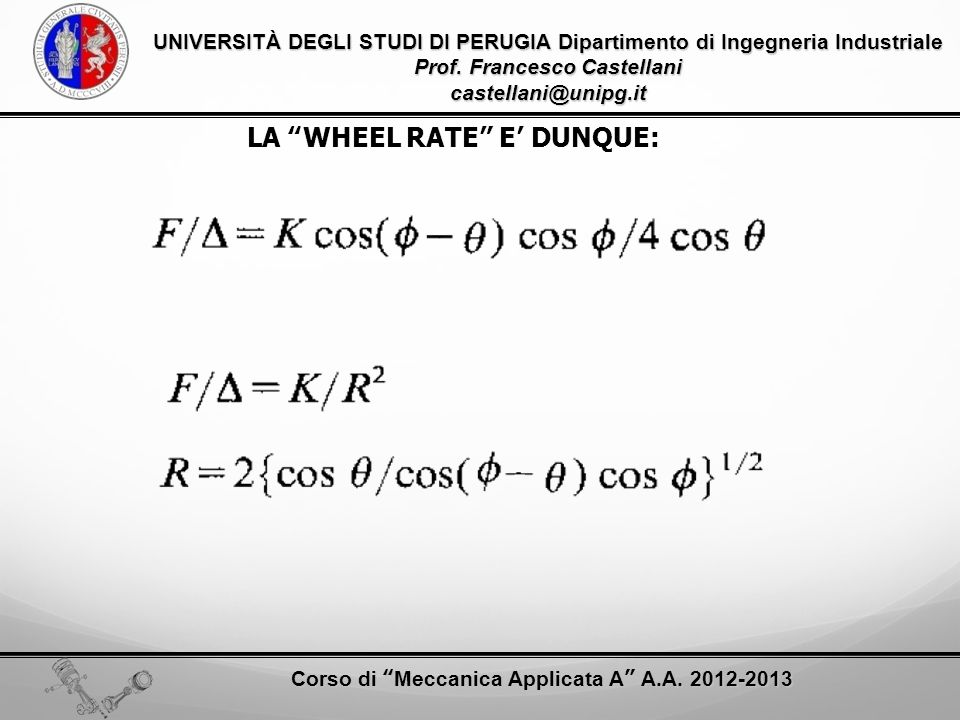 LA WHEEL RATE E' DUNQUE: