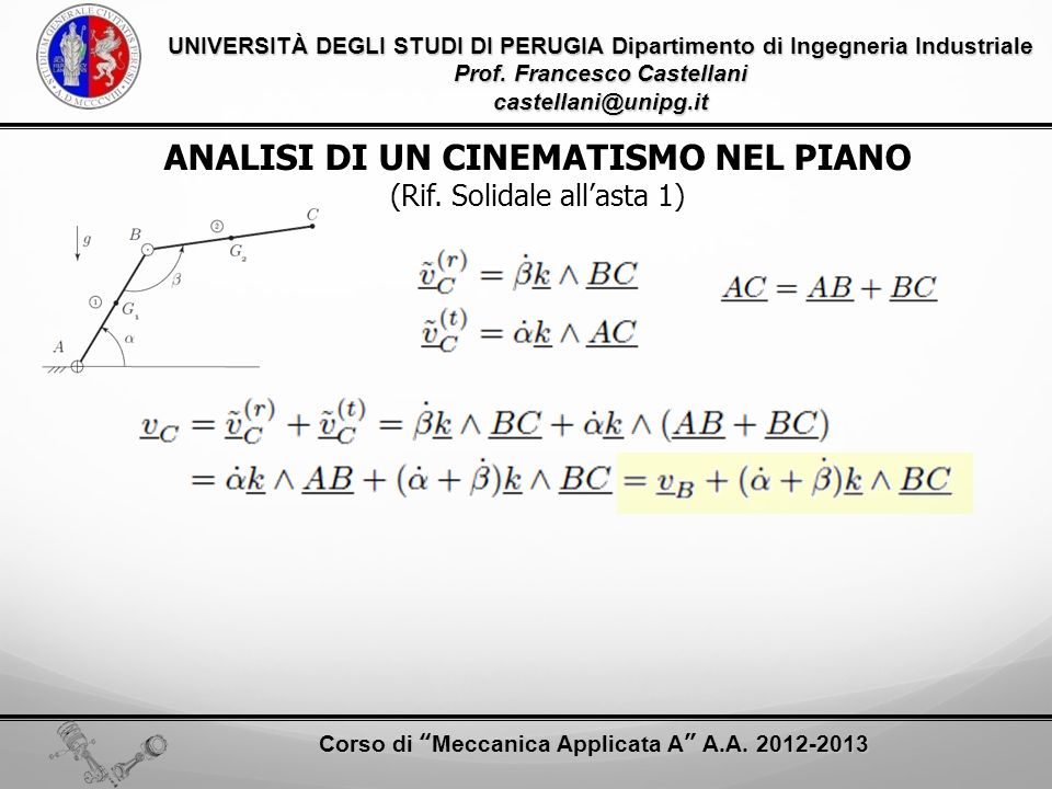 ANALISI DI UN CINEMATISMO NEL PIANO