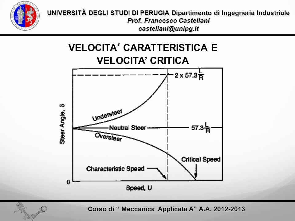 VELOCITA' CARATTERISTICA E VELOCITA' CRITICA