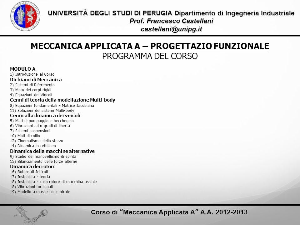 MECCANICA APPLICATA A – PROGETTAZIO FUNZIONALE