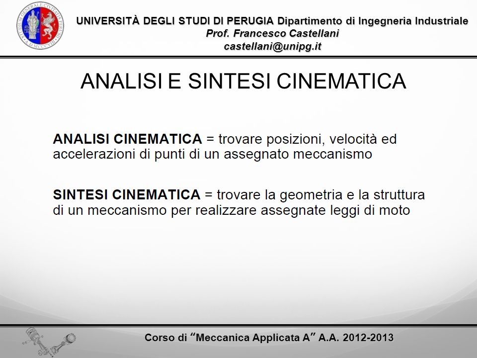 ANALISI E SINTESI CINEMATICA