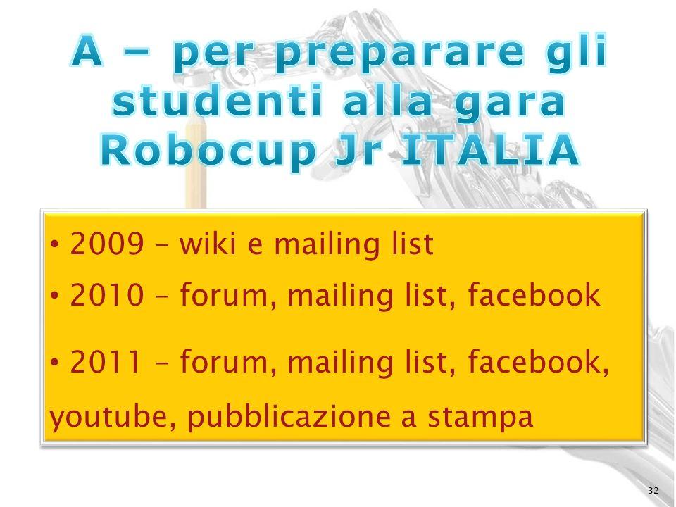 A – per preparare gli studenti alla gara Robocup Jr ITALIA