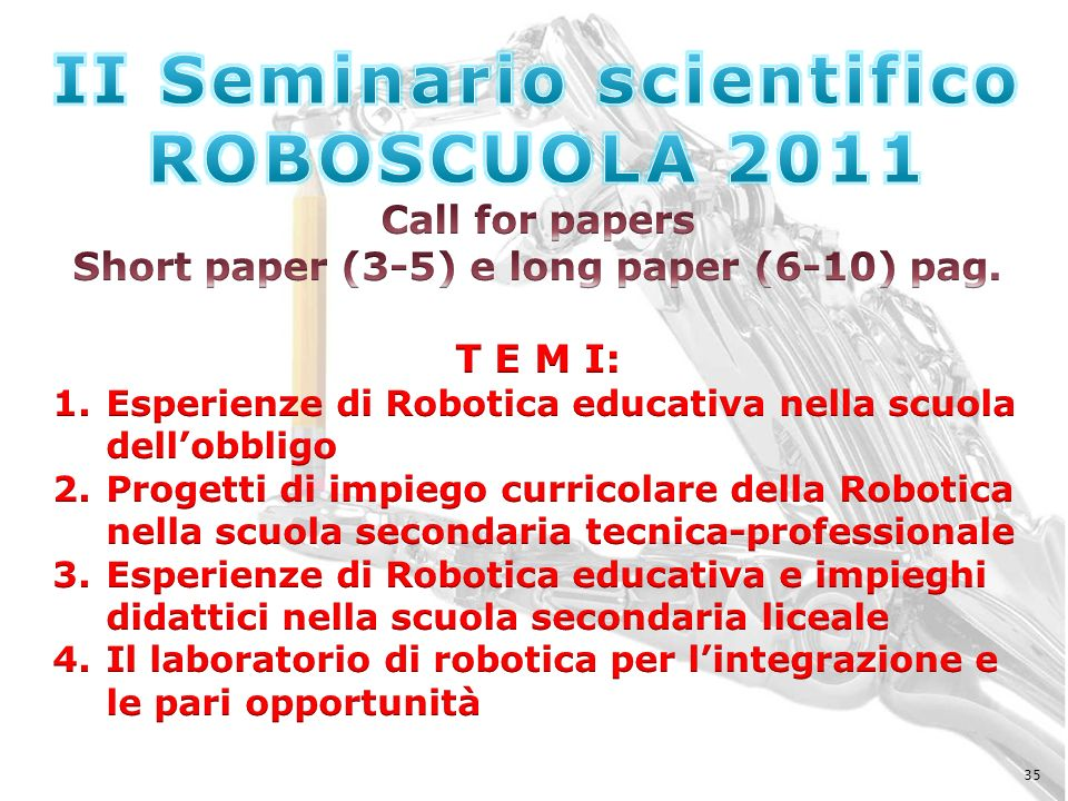 II Seminario scientifico Short paper (3-5) e long paper (6-10) pag.