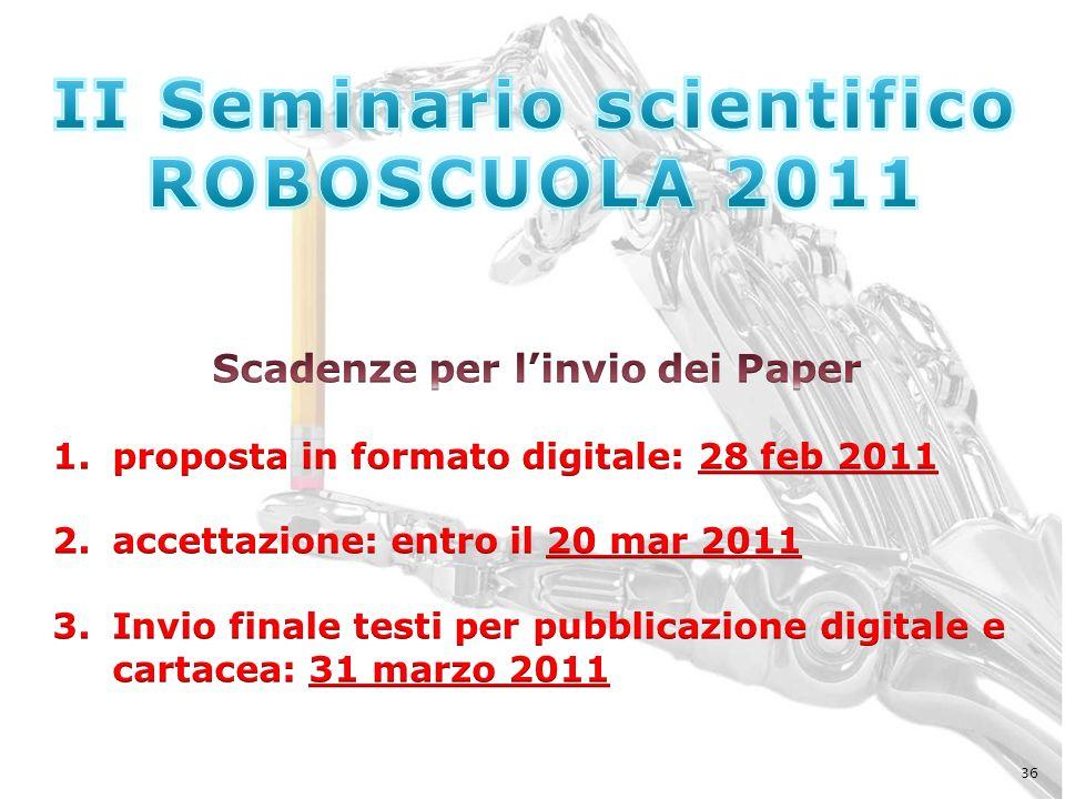II Seminario scientifico Scadenze per l'invio dei Paper
