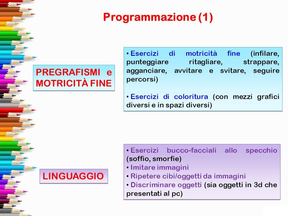 Programmazione (1) PREGRAFISMI e MOTRICITÀ FINE LINGUAGGIO