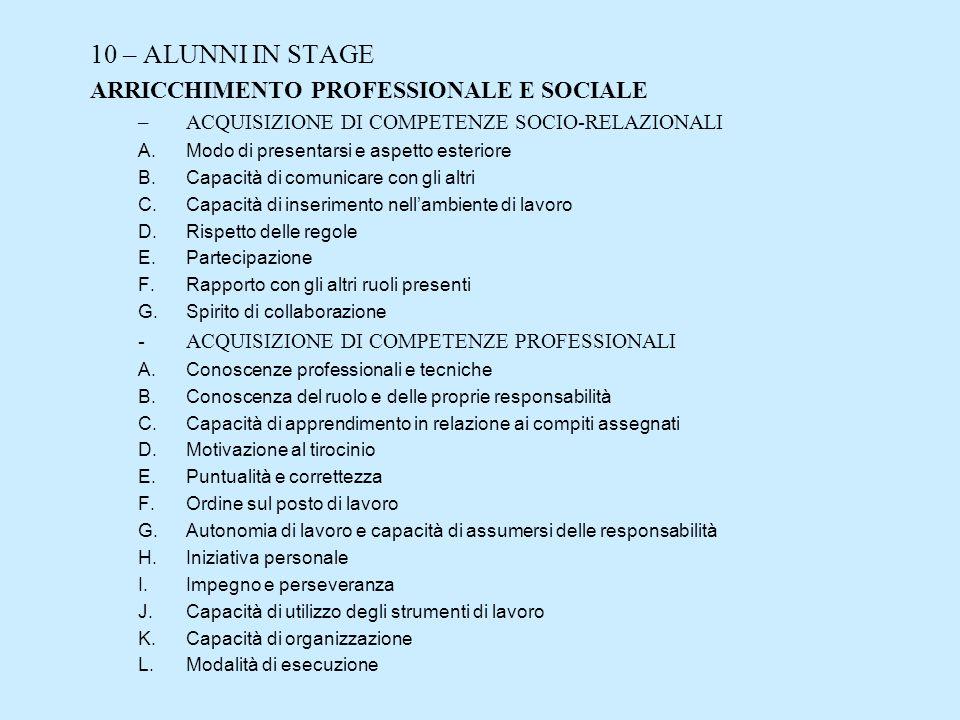 10 – ALUNNI IN STAGE ARRICCHIMENTO PROFESSIONALE E SOCIALE