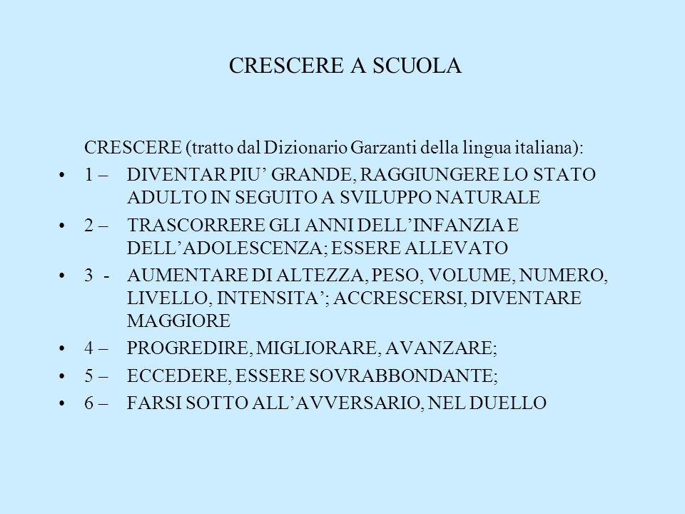 CRESCERE A SCUOLA CRESCERE (tratto dal Dizionario Garzanti della lingua italiana):