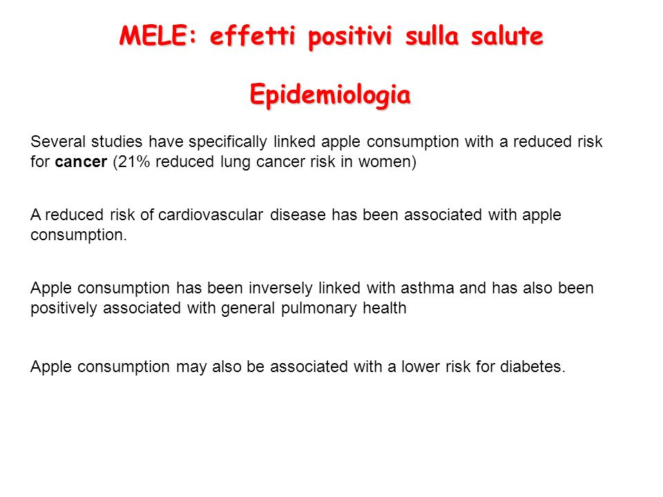 MELE: effetti positivi sulla salute