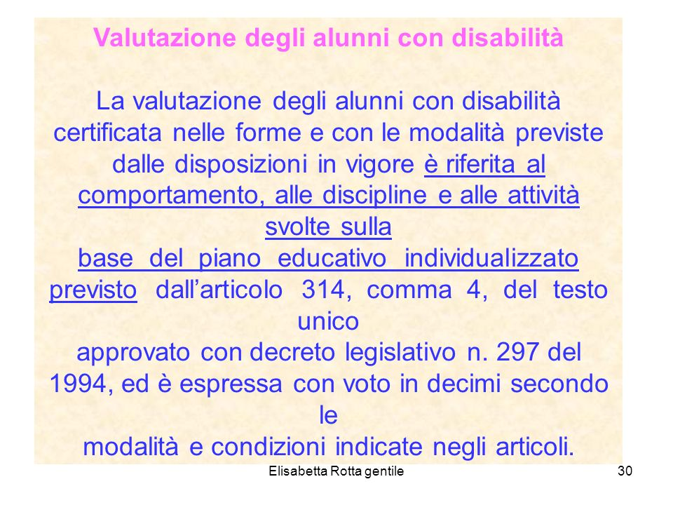 Valutazione degli alunni con disabilità