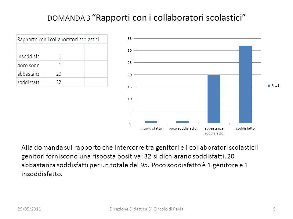DOMANDA 3 Rapporti con i collaboratori scolastici