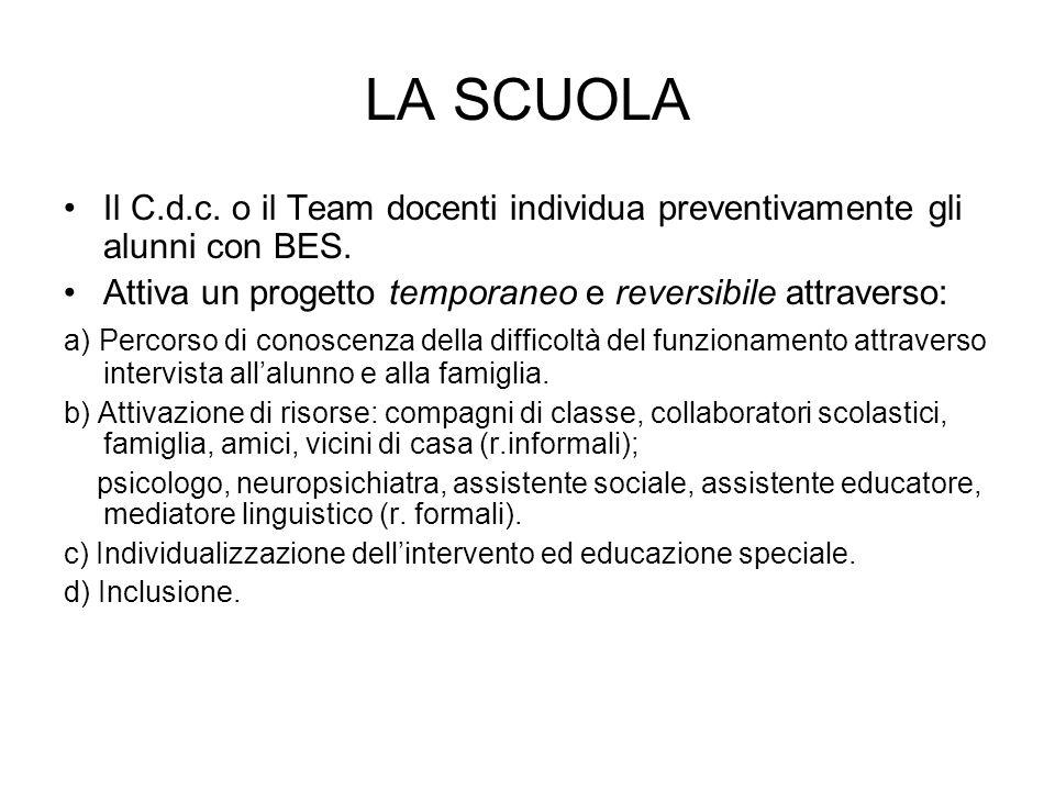 LA SCUOLA Il C.d.c. o il Team docenti individua preventivamente gli alunni con BES. Attiva un progetto temporaneo e reversibile attraverso: