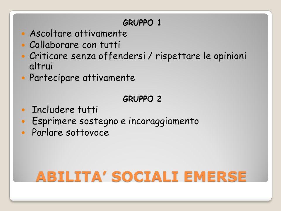 ABILITA' SOCIALI EMERSE