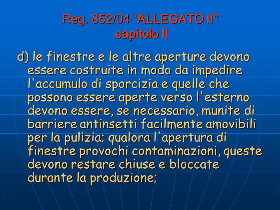 Reg. 852/04 ALLEGATO II capitolo II