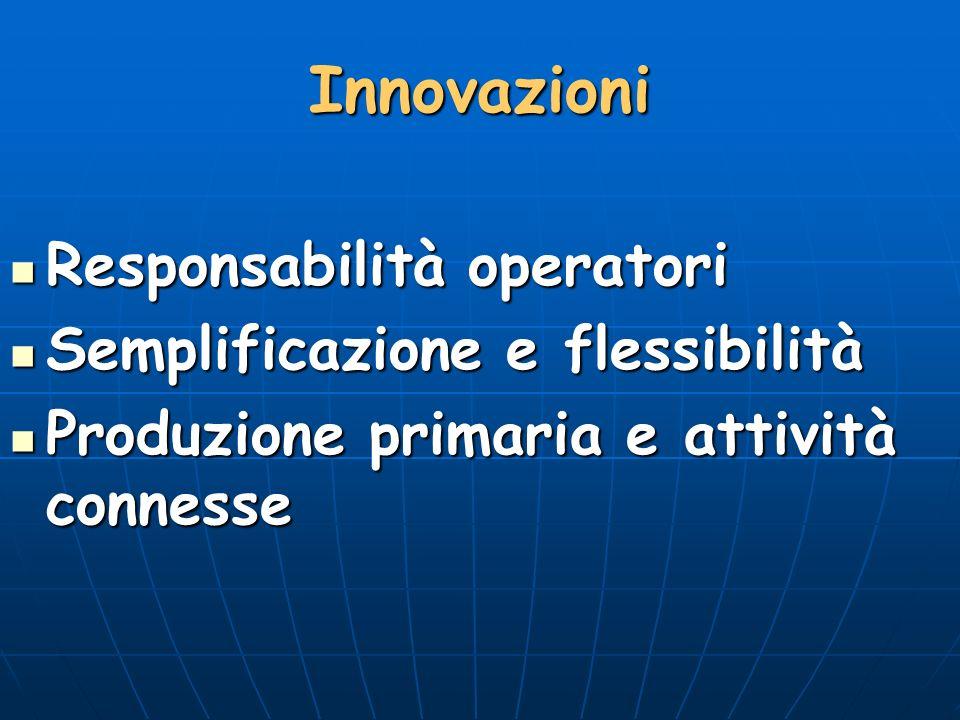 Innovazioni Responsabilità operatori Semplificazione e flessibilità