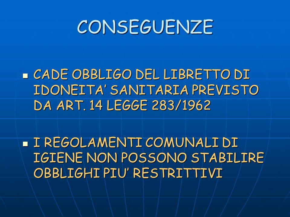CONSEGUENZE CADE OBBLIGO DEL LIBRETTO DI IDONEITA' SANITARIA PREVISTO DA ART. 14 LEGGE 283/1962.