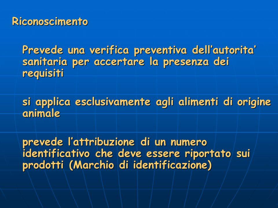 Riconoscimento Prevede una verifica preventiva dell'autorita' sanitaria per accertare la presenza dei requisiti.