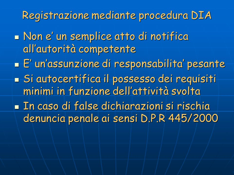 Registrazione mediante procedura DIA