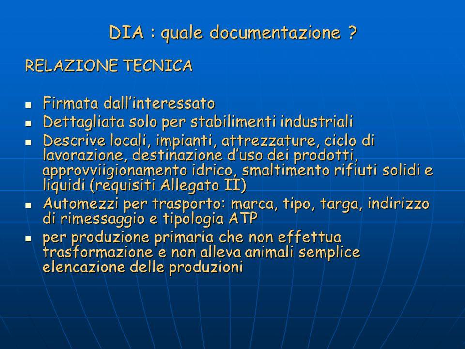 DIA : quale documentazione