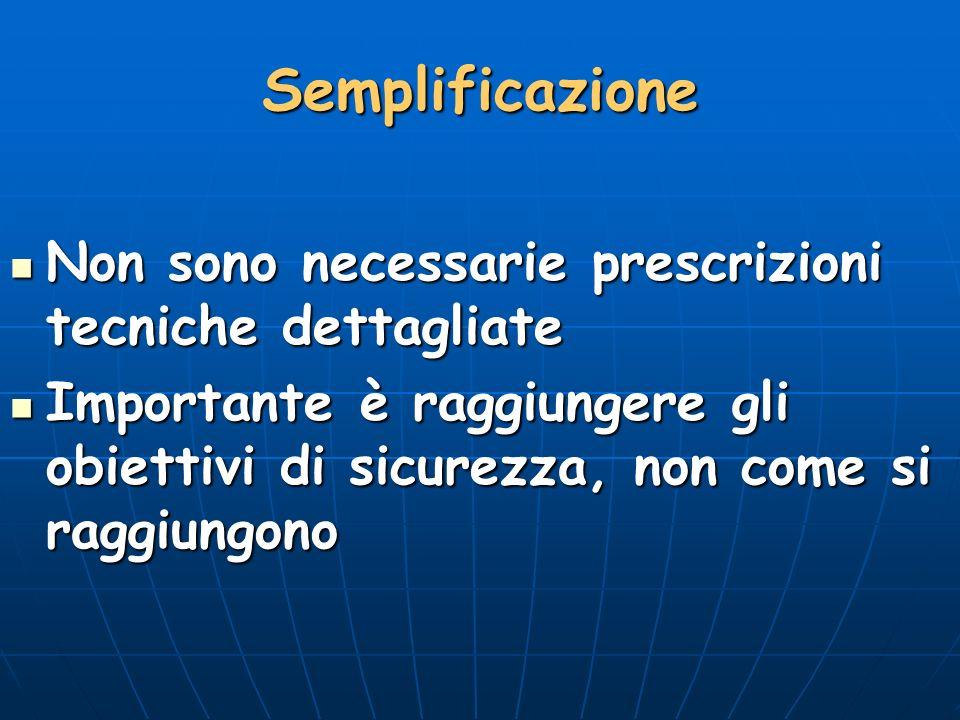 Semplificazione Non sono necessarie prescrizioni tecniche dettagliate
