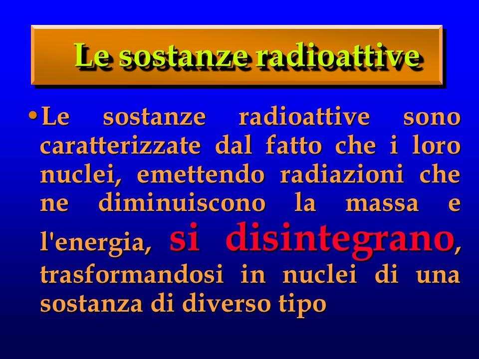 Le sostanze radioattive
