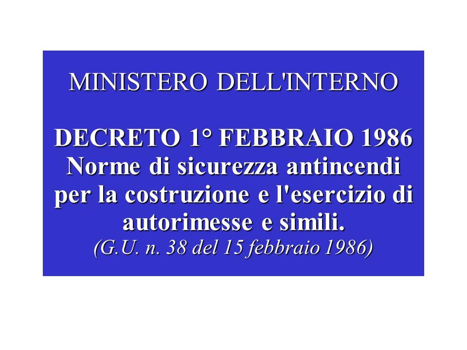 MINISTERO DELL INTERNO DECRETO 1° FEBBRAIO 1986 Norme di sicurezza antincendi per la costruzione e l esercizio di autorimesse e simili.