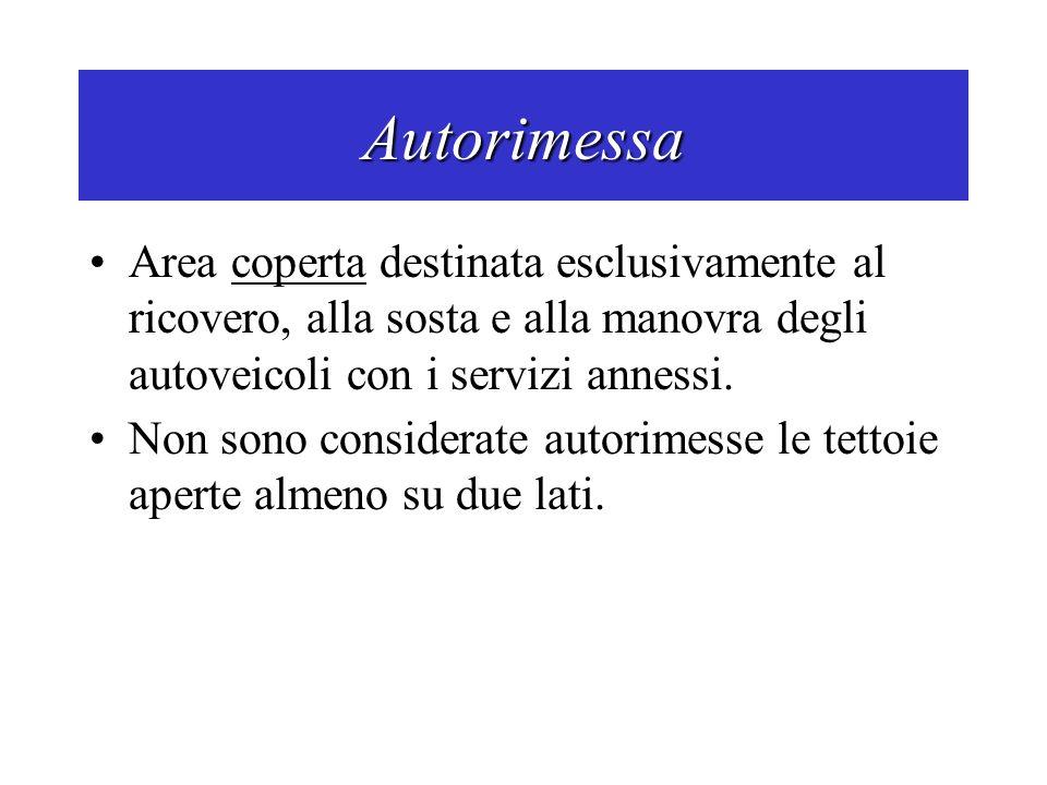 Autorimessa Area coperta destinata esclusivamente al ricovero, alla sosta e alla manovra degli autoveicoli con i servizi annessi.