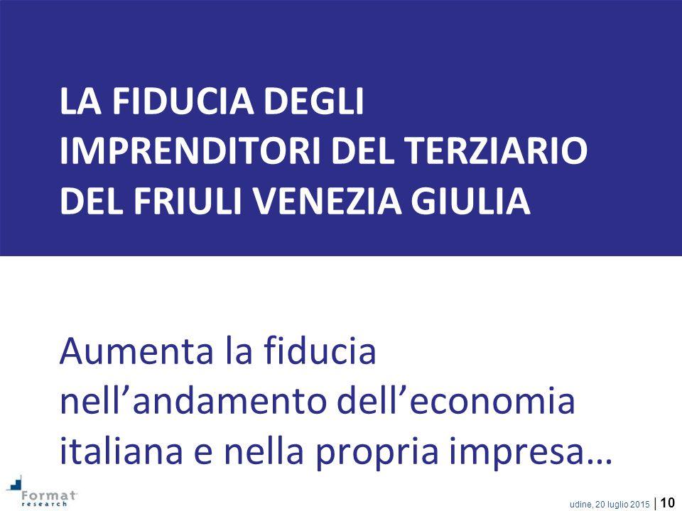 LA FIDUCIA DEGLI IMPRENDITORI del terziario del friuli venezia giulia Aumenta la fiducia nell'andamento dell'economia italiana e nella propria impresa…