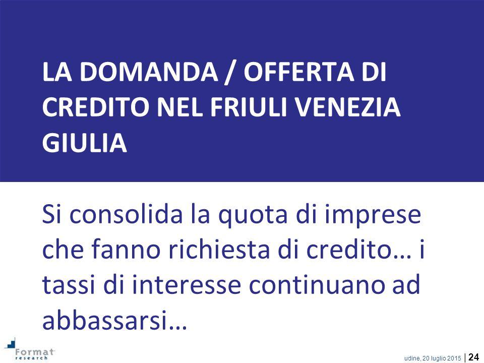 LA DOMANDA / OFFERTA DI CREDITO nel friuli venezia giulia