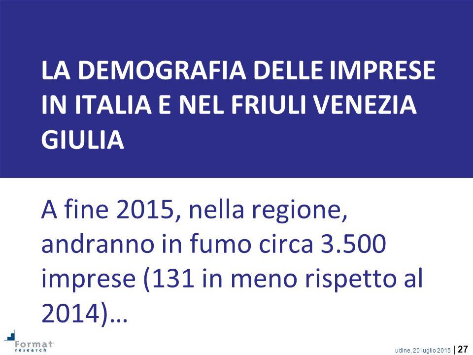 LA demografia delle imprese in italia e nel friuli venezia giulia A fine 2015, nella regione, andranno in fumo circa 3.500 imprese (131 in meno rispetto al 2014)…