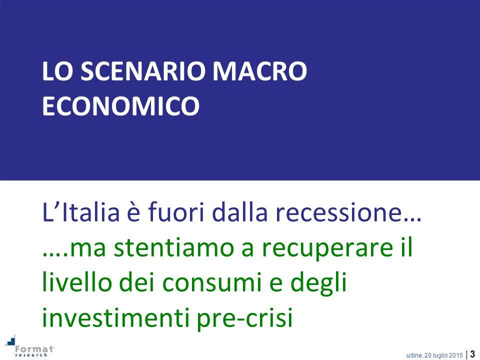 Lo SCENARIO MACRO ECONOMICO L'Italia è fuori dalla recessione… …