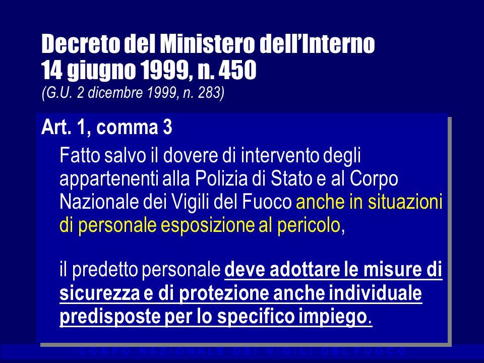 Decreto del Ministero dell'Interno 14 giugno 1999, n. 450 (G. U