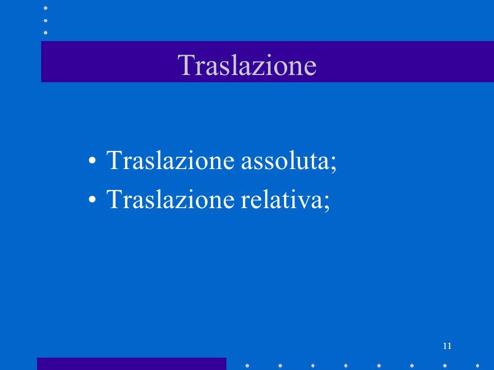 Traslazione Traslazione assoluta; Traslazione relativa;