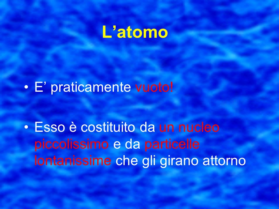 L'atomo E' praticamente vuoto!