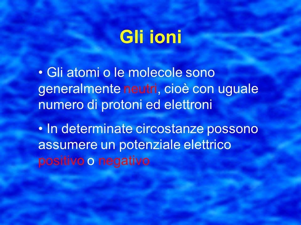Gli ioni Gli atomi o le molecole sono generalmente neutri, cioè con uguale numero di protoni ed elettroni.
