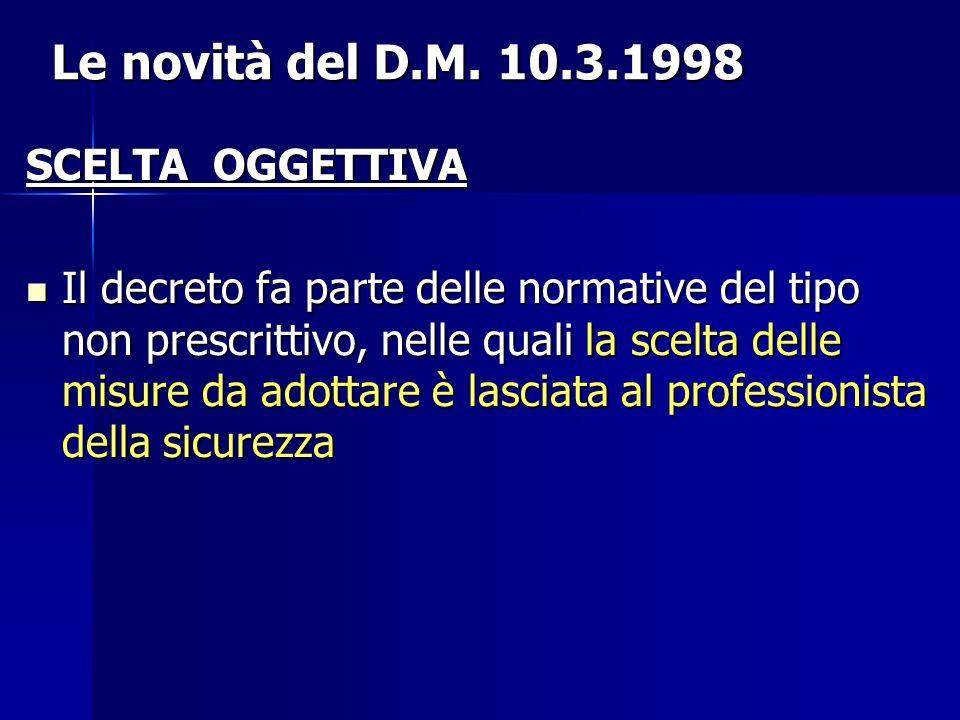Le novità del D.M. 10.3.1998 SCELTA OGGETTIVA