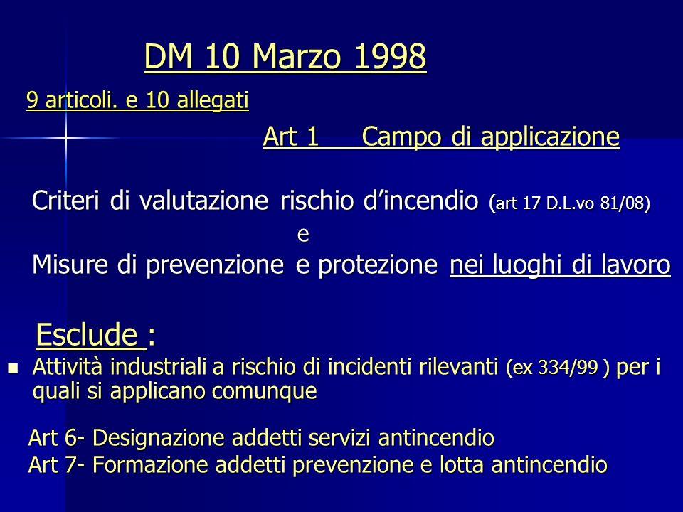 DM 10 Marzo 1998 9 articoli. e 10 allegati Art 1 Campo di applicazione