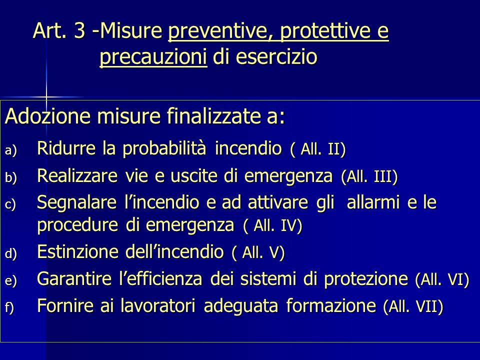 Art. 3 -Misure preventive, protettive e precauzioni di esercizio