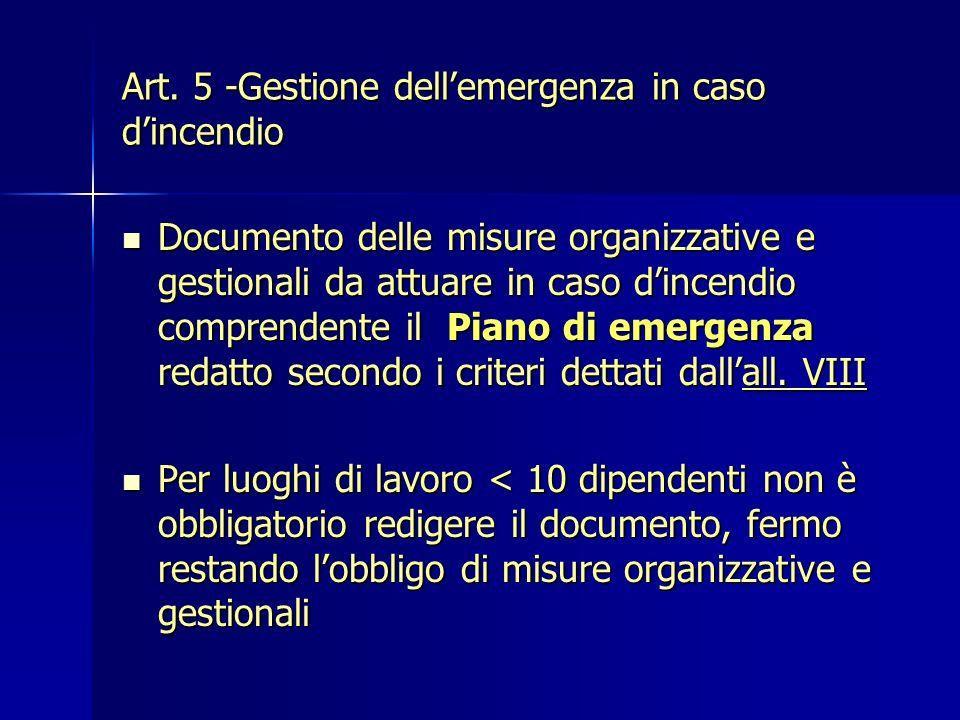 Art. 5 -Gestione dell'emergenza in caso d'incendio
