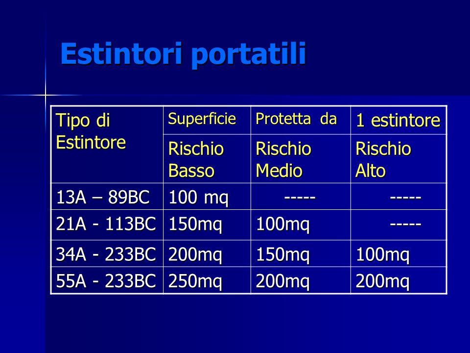 Estintori portatili Tipo di Estintore 1 estintore Rischio Basso