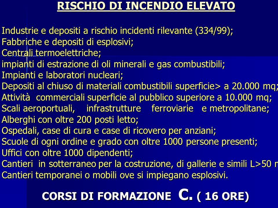 CORSI DI FORMAZIONE C. ( 16 ORE)