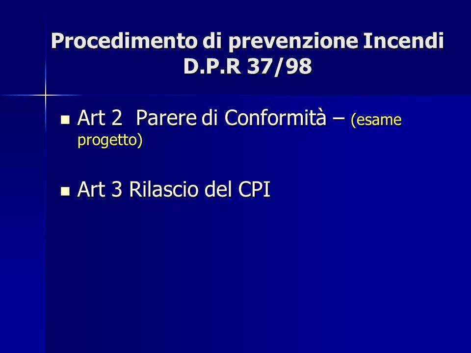 Procedimento di prevenzione Incendi D.P.R 37/98
