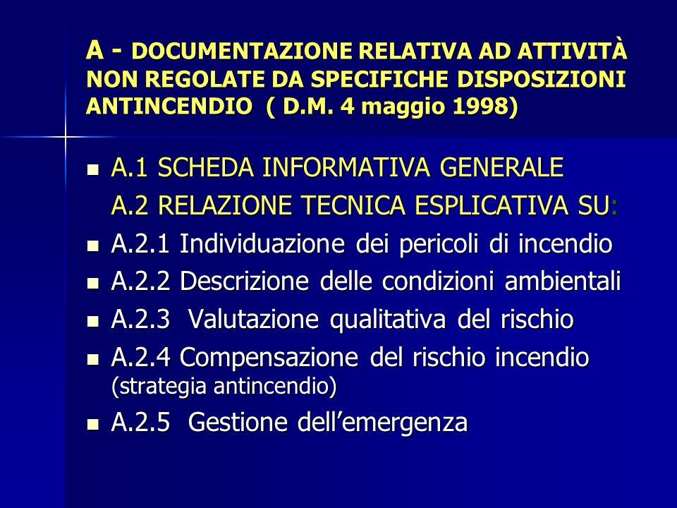 A.1 SCHEDA INFORMATIVA GENERALE A.2 RELAZIONE TECNICA ESPLICATIVA SU: