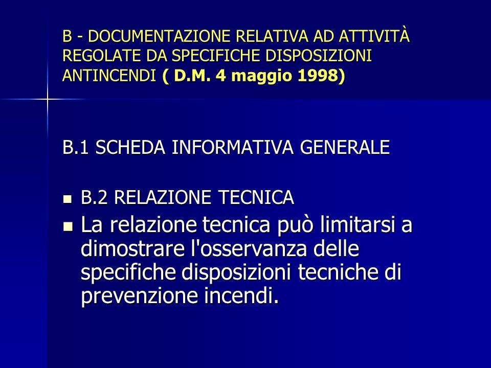 B - DOCUMENTAZIONE RELATIVA AD ATTIVITÀ REGOLATE DA SPECIFICHE DISPOSIZIONI ANTINCENDI ( D.M. 4 maggio 1998)