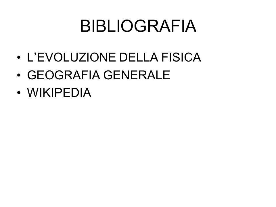 BIBLIOGRAFIA L'EVOLUZIONE DELLA FISICA GEOGRAFIA GENERALE WIKIPEDIA