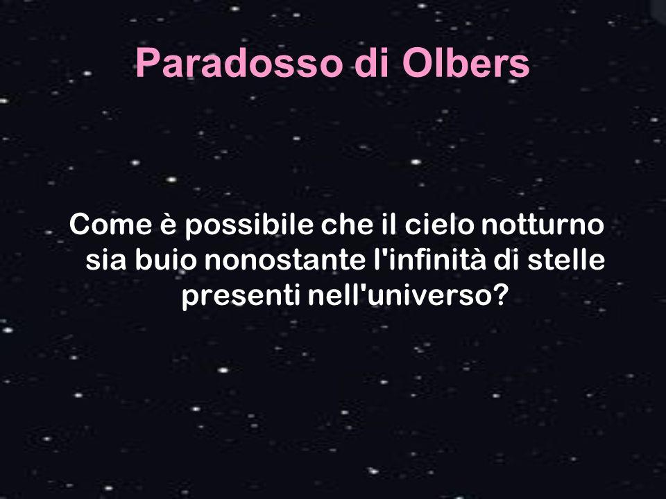 Paradosso di Olbers Come è possibile che il cielo notturno sia buio nonostante l infinità di stelle presenti nell universo