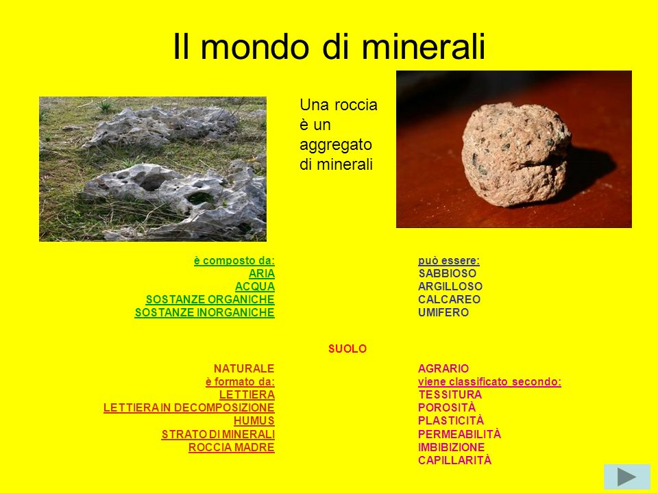 Il mondo di minerali Una roccia è un aggregato di minerali