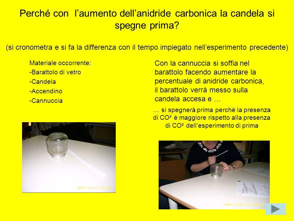 Perché con l'aumento dell'anidride carbonica la candela si spegne prima (si cronometra e si fa la differenza con il tempo impiegato nell'esperimento precedente)